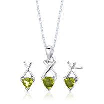 Sterling Silver 1.75 Carats Trillion Cut Peridot Pendant Earrings Set Style SS2626