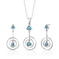 Sterling Silver 2.00 Carats Multishape Swiss Blue Topaz Pendant Earrings Set Style SS2642