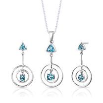 Sterling Silver 2.00 Carats Multishape Swiss Blue Topaz Pendant Earrings Set Style SS2642