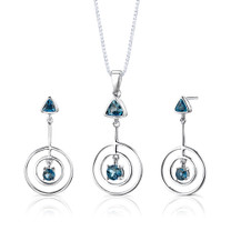 Sterling Silver 2.00 Carats London Blue Topaz Pendant Earrings Set Style SS2644
