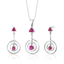 Sterling Silver Multishape Ruby Pendant Earrings Set Style SS2646