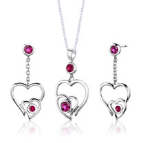 Sterling Silver Round Shape Ruby Pendant Earrings Set Style SS2660