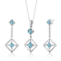 Sterling Silver 2.50 Carats Multishape Swiss Blue Topaz Pendant Earrings Set Style SS2670