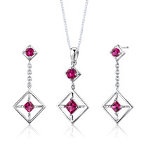 Sterling Silver Multishape Ruby Pendant Earrings Set Style SS2674