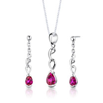 Sterling Silver Pear Shape Ruby Pendant Earrings Set Style SS2716