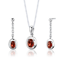 Sterling Silver 2.00 Carats Oval Shape Garnet Pendant Earrings Set Style SS2722