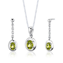 Sterling Silver 1.75 Carats Oval Shape Peridot Pendant Earrings Set Style SS2724