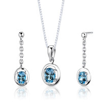 Sterling Silver 1.75 Carats Oval Shape Swiss Blue Topaz Pendant Earrings Set Style SS2726