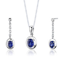 Sterling Silver Oval Shape Sapphire Pendant Earrings Set Style SS2732