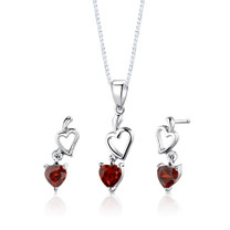 Sterling Silver 2.00 Carats Heart Shape Garnet Pendant Earrings Set Style SS2736