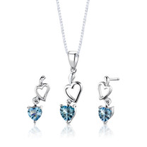 Sterling Silver 2.25 Carats Heart Shape Swiss Blue Topaz Pendant Earrings Set Style SS2740