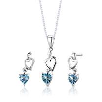 Sterling Silver 2.25 Carats Heart Shape Swiss Blue Topaz Pendant Earrings Set Style SS2740