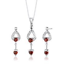 Sterling Silver 2.50 Carats Multishape Garnet Pendant Earrings Set Style SS2750