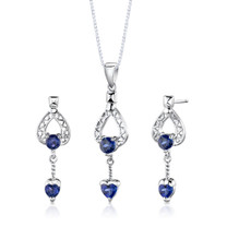 Sterling Silver Multishape Sapphire Pendant Earrings Set Style SS2760