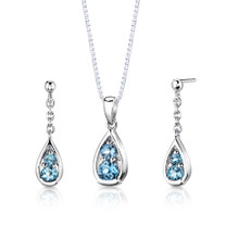 Sterling Silver 2.00 Carats Round Shape Swiss Blue Topaz Pendant Earrings Set Style SS2796