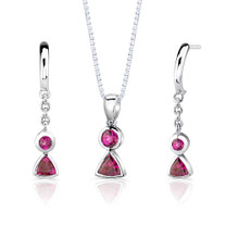 Sterling Silver Multishape Ruby Pendant Earrings Set Style SS2814