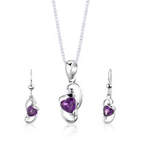 Sterling Silver 1.75 Carats Heart Shape Amethyst Pendant Earrings Set Style SS2832