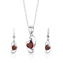 Sterling Silver 2.00 Carats Heart Shape Garnet Pendant Earrings Set Style SS2834