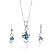 Sterling Silver 2.25 Carats Heart Shape Swiss Blue Topaz Pendant Earrings Set Style SS2838
