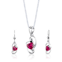 Sterling Silver Heart Shape Ruby Pendant Earrings Set Style SS2842