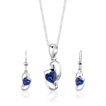 Sterling Silver Heart Shape Sapphire Pendant Earrings Set Style SS2844
