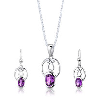 Sterling Silver 2.00 Carats Oval Shape Amethyst Pendant Earrings Set Style SS2846