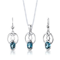 Sterling Silver 2.25 Carats Oval Shape London Blue Topaz Pendant Earrings Set Style SS2854