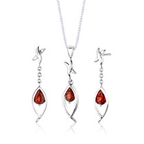 Sterling Silver 2.25 Carats Pear Shape Garnet Pendant Earrings Set Style SS2862