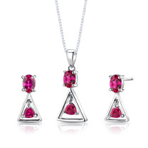 Sterling Silver Multishape Ruby Pendant Earrings Set Style SS2884