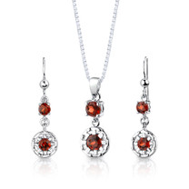 Sterling Silver 2.75 Carats Round Shape Garnet Pendant Earrings Set Style SS2890