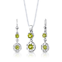 Sterling Silver 2.00 Carats Round Shape Peridot Pendant Earrings Set Style SS2892