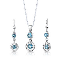 Sterling Silver 2.50 Carats Round Shape Swiss Blue Topaz Pendant Earrings Set Style SS2894