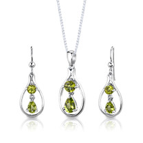 Sterling Silver 2.50 Carats Multishape Peridot Pendant Earrings Set Style SS2920