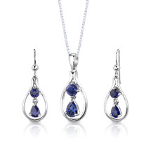 Sterling Silver Multishape Sapphire Pendant Earrings Set Style SS2928