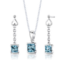 Sterling Silver 2.75 Carats Princess Cut Swiss Blue Topaz Pendant Earrings Set Style SS2936