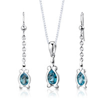 Sterling Silver 2.25 Carats Pear Shape London Blue Topaz Pendant Earrings Set Style SS2952