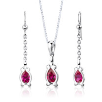 Sterling Silver Pear Shape Ruby Pendant Earrings Set Style SS2954