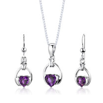 Sterling Silver 1.75 Carats Heart Shape Amethyst Pendant Earrings Set Style SS2958