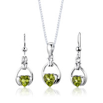 Sterling Silver 1.75 Carats Heart Shape Peridot Pendant Earrings Set Style SS2962