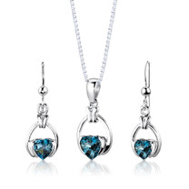 Sterling Silver 2.25 Carats Heart Shape London Blue Topaz Pendant Earrings Set Style SS2966