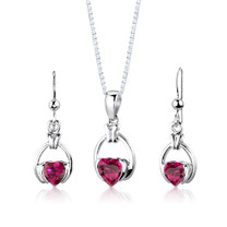 Sterling Silver Heart Shape Ruby Pendant Earrings Set Style SS2968