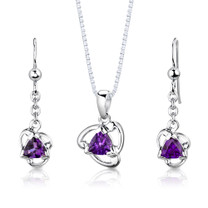 Sterling Silver 1.50 Carats Trillion Cut Amethyst Pendant Earrings Set Style SS2972