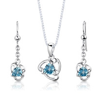 Sterling Silver 2.50 Carats Trillion Cut Swiss Blue Topaz Pendant Earrings Set Style SS2978
