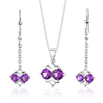 Sterling Silver 3.25 Carats Round Shape Amethyst Pendant Earrings Set Style SS2986