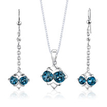 Sterling Silver 4.00 Carats Round Shape London Blue Topaz Pendant Earrings Set Style SS2994