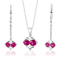 Sterling Silver Round Shape Ruby Pendant Earrings Set Style SS2996