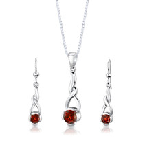 Sterling Silver 2.25 Carats Round Shape Garnet Pendant Earrings Set Style SS3002