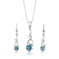 Sterling Silver 2.25 Carats Round Shape Swiss Blue Topaz Pendant Earrings Set Style SS3006