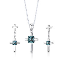 Sterling Silver 2.75 Carats Princess Cut London Blue Topaz Pendant Earrings Set Style SS3022