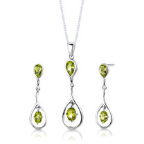Sterling Silver 3.50 Carats Oval Shape Peridot Pendant Earrings Set Style SS3032